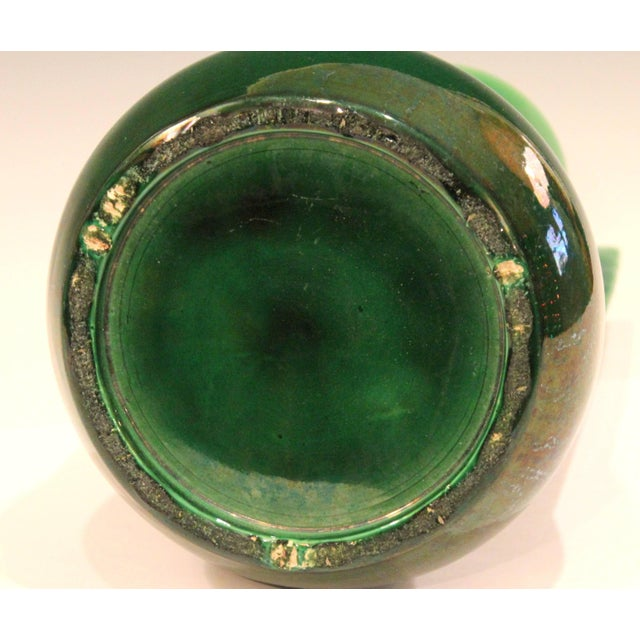 Awaji Pottery Architectural Buttress Handle Arts & Crafts Green Monochrome Vase For Sale In New York - Image 6 of 11