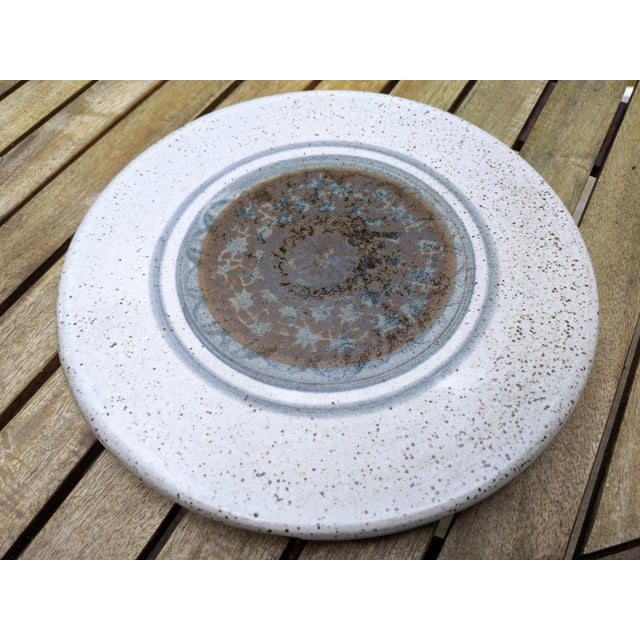 Midcentury Modern Round Glazed Pottery Pedestal Platter For Sale - Image 11 of 13