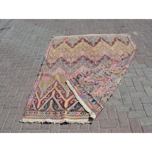 Vintage Turkish Kilim Rug - 5′3″ × 7′1″ For Sale - Image 11 of 11