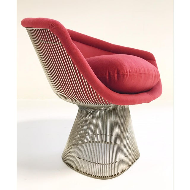 Warren Platner for Knoll Lounge Chairs Restored in Loro Piana Red Cashmere - Pair For Sale - Image 11 of 13