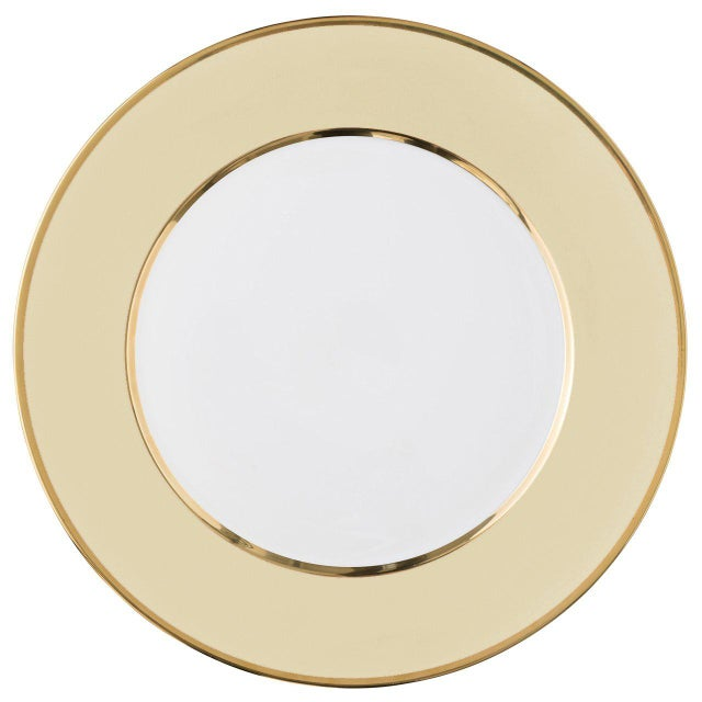 """Ceramic """"Schubert"""" Charger in Pink & Narrow Gold Rim For Sale - Image 7 of 12"""