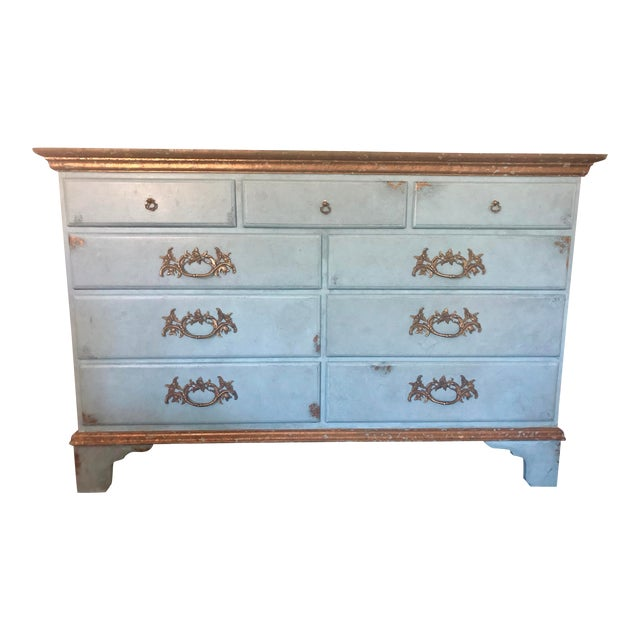 Vintage Blue Faux Painted Large Chest of Drawers Dresser For Sale