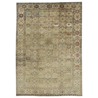 French Country Distressed Antique Persian Mahal Rug - 9′5″ × 13′4″ For Sale