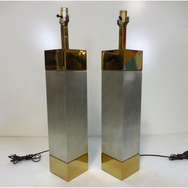 Laurel Brushed Aluminum & Brass Lamps - A Pair - Image 8 of 9