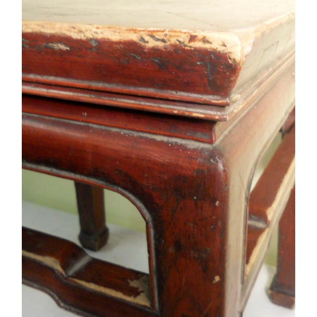 Red Mid 19th Century Antique Ming Meditation Bench / Side Table For Sale - Image 8 of 11