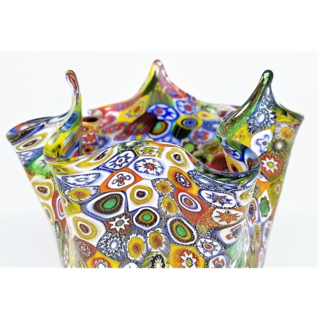 1980s Vintage Murano Glass Hankerchief Vase - Millifiori and Gold by Campanella- Signed - Italy Italian Palm Beach Boho Chic Mid Century Modern For Sale - Image 5 of 13