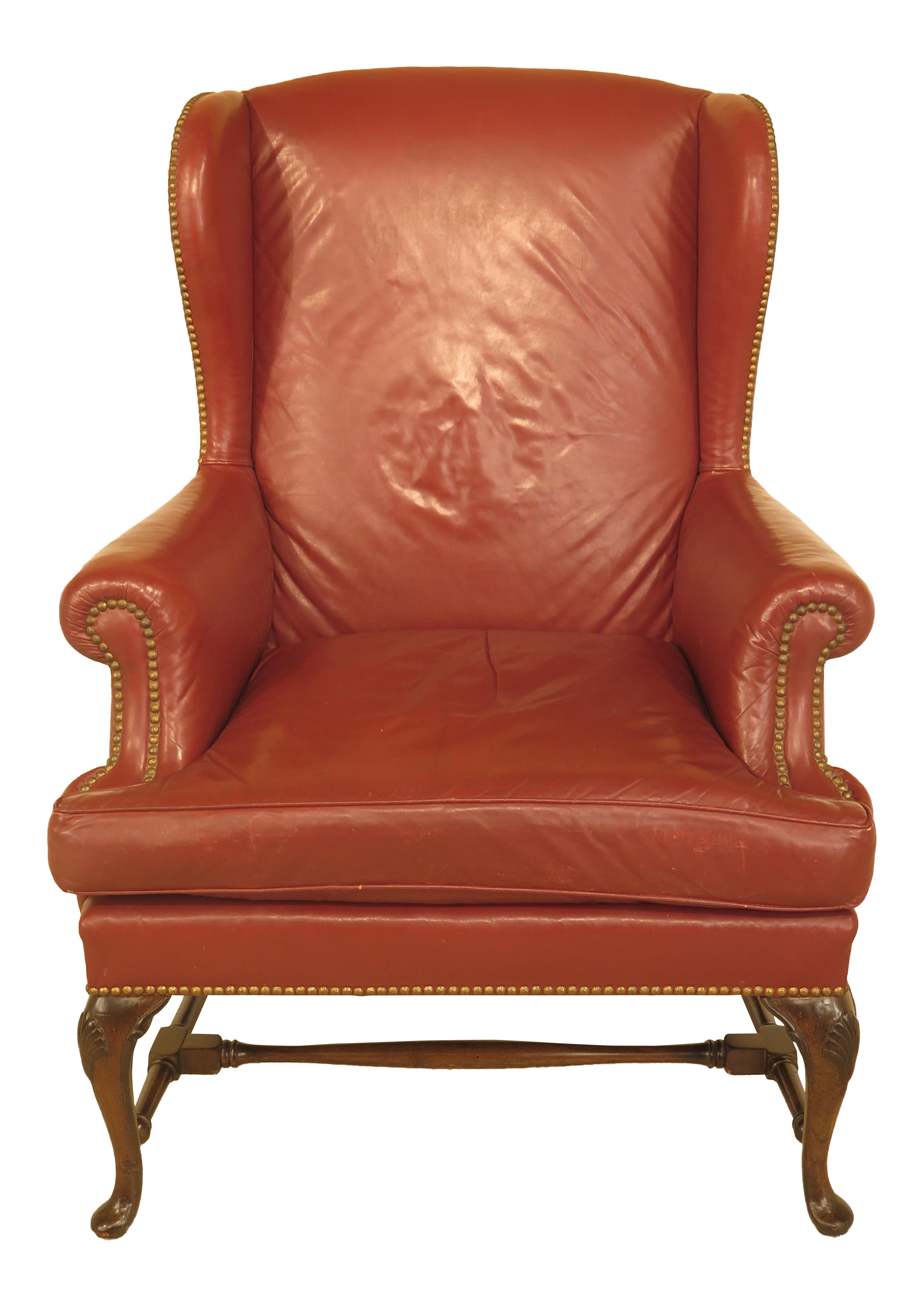 Vintage Queen Anne Mahogany Leather Wingback Chair