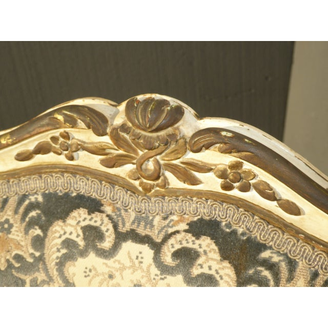 Blue French Provincial Arm Chair With Floral Velvet Upholstery For Sale - Image 8 of 11