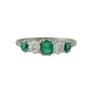 Vintage Platinum Emerald and Diamond Ring For Sale