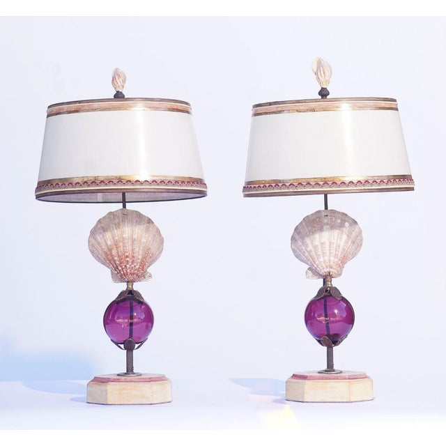 Early 21st Century Vintage Shell Lamps With Murano Glass For Sale - Image 5 of 5