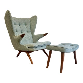 Papa Bear Styled Mid Century Modern Lounge Chair in Light Arctic Blue For Sale