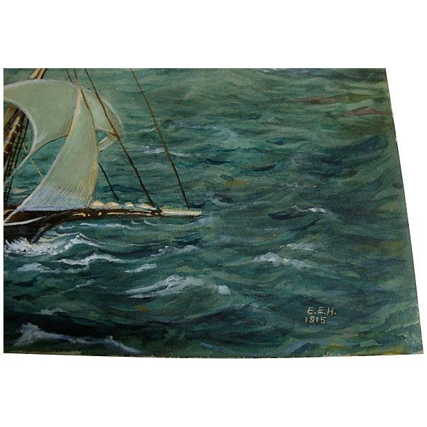 Antique Miniature Nautical Ship Painting - Image 3 of 4