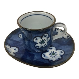 Vintage Japanese Blue Floral Cup and Saucer For Sale