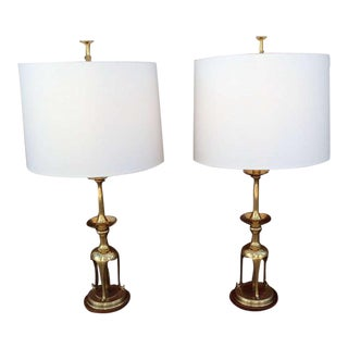 Solid Brass with Oak Table Lamps by Chapman - A Pair