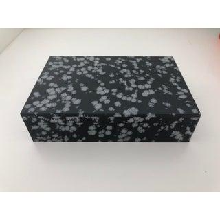 1960's Vintage Italian Lapidary Stone Snowflake Obsidian Box Preview