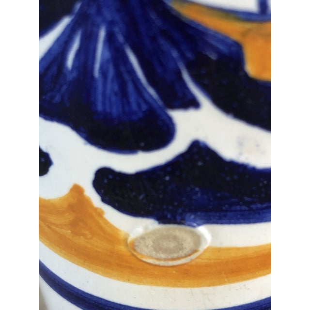 Blue Antique Quimper Man Woman Orange and Blue Vase or Candlestick Holders - a Pair For Sale - Image 8 of 10