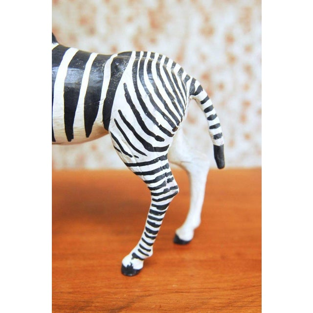 Mid-Century Modern Mid-Century Leather Wrapped African Zebra Sculpture For Sale - Image 3 of 7
