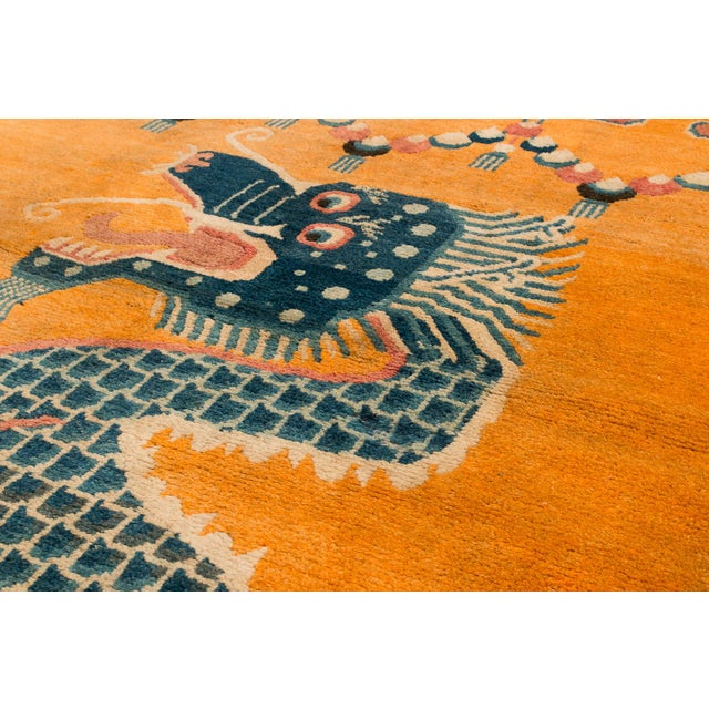 """19th Century 19th Century Dragon Rug-4'1'x5'4"""" For Sale - Image 5 of 10"""