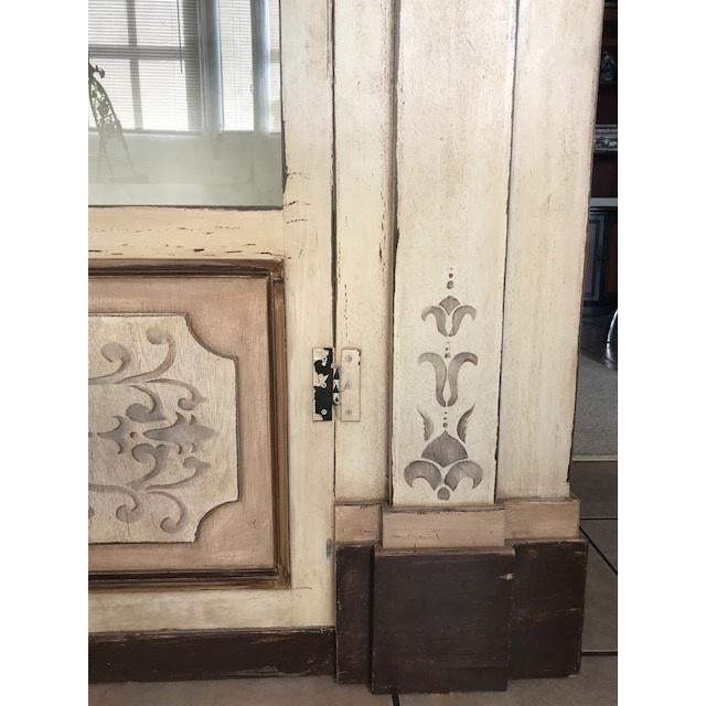 Large statement piece in a custom creme distressed finish with subtle details stenciled in light grey make perfect accents...