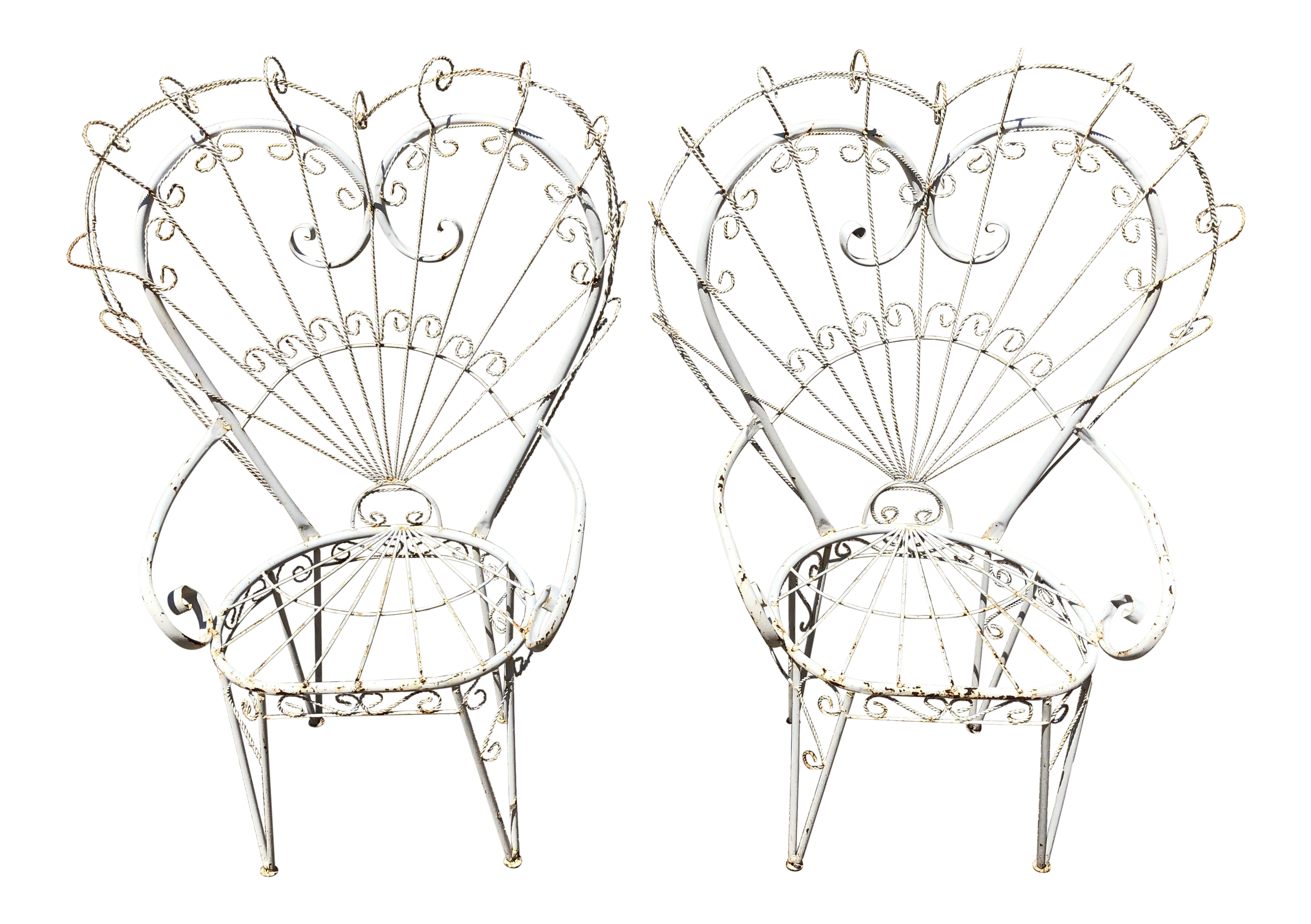 vintage wrought iron heart peacock chairs a pair chairish 1950s Decorating Styles vintage wrought iron heart peacock chairs a pair for sale