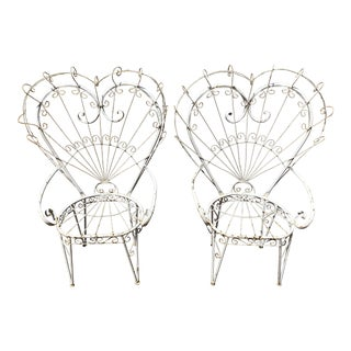 Vintage Wrought Iron Heart Peacock Chairs - a Pair