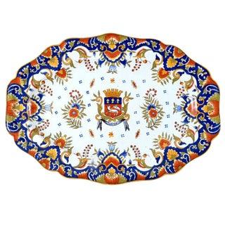 19th Century Rouen Armorial Platter, France C. 1900 For Sale