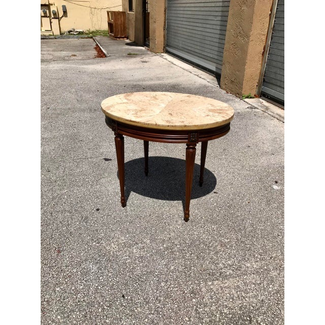 French 1910s French Louis XVI Marble Top Side Table For Sale - Image 3 of 13