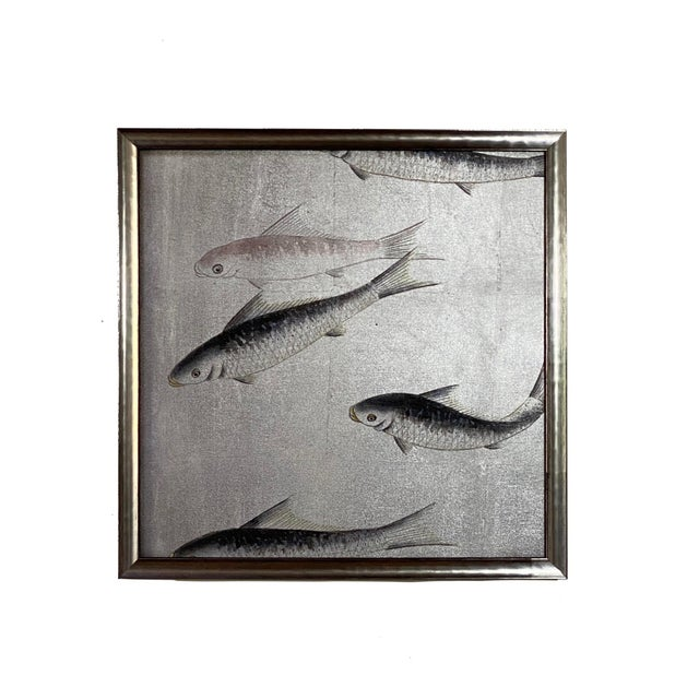 2010s Framed Koi Fish Hand Painted on Antiqued Silver Leaf Chinoiserie Wallpaper, Set of 6 For Sale - Image 5 of 9