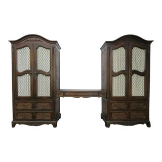 French Pair of Tall Armoires Wardrobes Cabinets With a Desk by Hickory For Sale