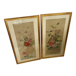Large Vintage Japanese Floral Prints - a Pair For Sale