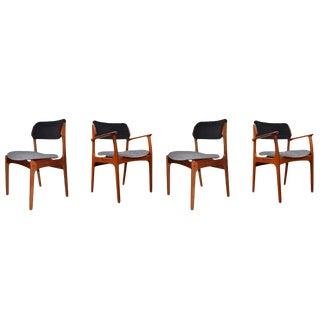 1960s Vintage Erik Buck Danish Modern Teakwood Dining Chairs - Set of 4 For Sale