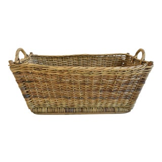 Large Early 1900s French Woven Wicker/Willow Market Basket For Sale