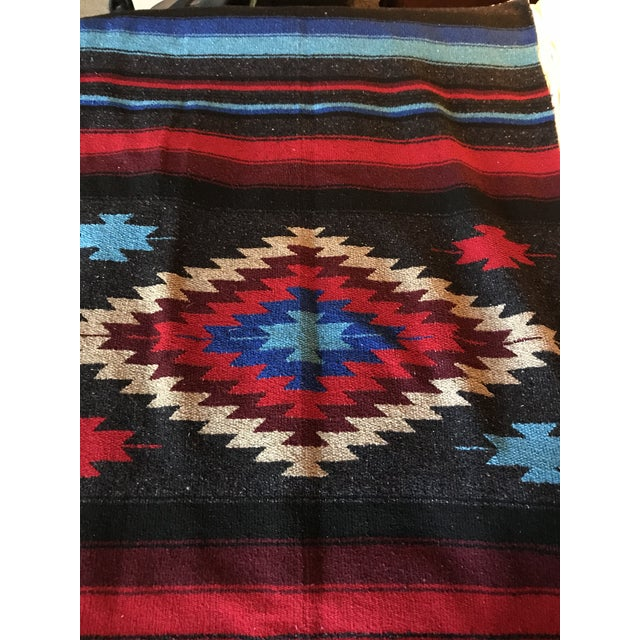 Folk Art Navajo Style Red Blue Gray Woven Cotton Throw Blanket For Sale - Image 3 of 8