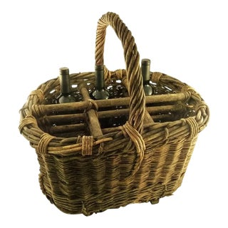 Antique French Provincial Wicker Wine & Wood Basket or Carrier For Sale