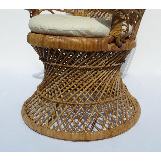 Final Markdown: C1970s Vintage Bohemian Eclectic Boho Chic Rattan Raw Wicker Peacock Chair For Sale - Image 12 of 13