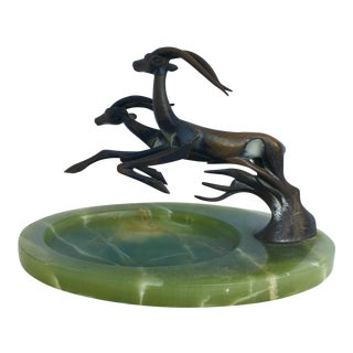Bronze Elk on Onyx Base Bowl For Sale