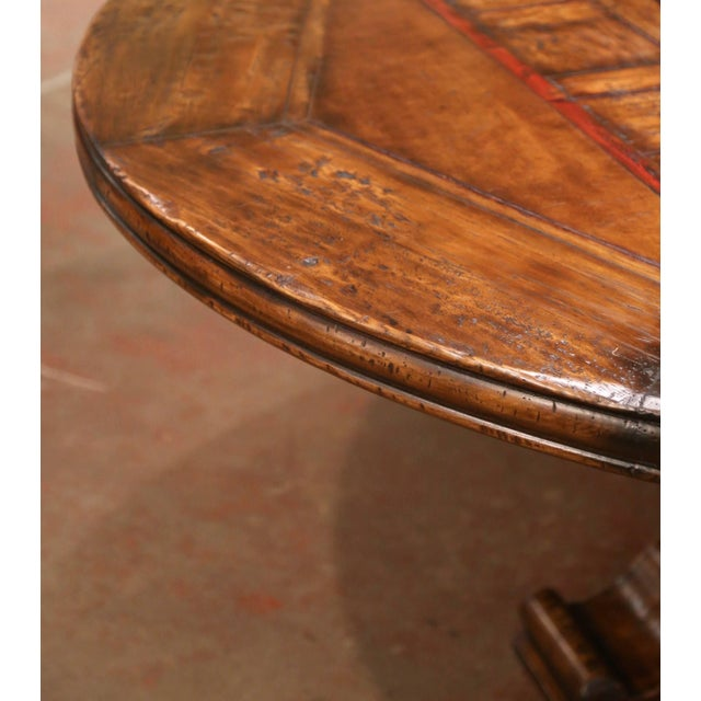 Mid-Century French Carved Walnut Pedestal Round Dining Table With Parquetry Top For Sale - Image 10 of 13