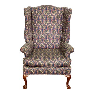 Vintage Chippendale Style Paisley Silk Upholstered Wingback Chair For Sale