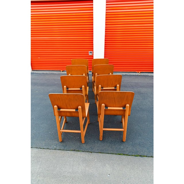 1990s Vintage Modern Moulded Plywood Chairs - Set of 8 For Sale - Image 5 of 11
