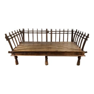 Late 19th Century Indian Custom Hand Carved Teak Day Bed