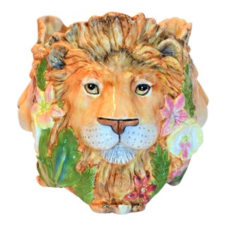 Vintage Fitz and Floyd Serengeti Lion Cachepot For Sale