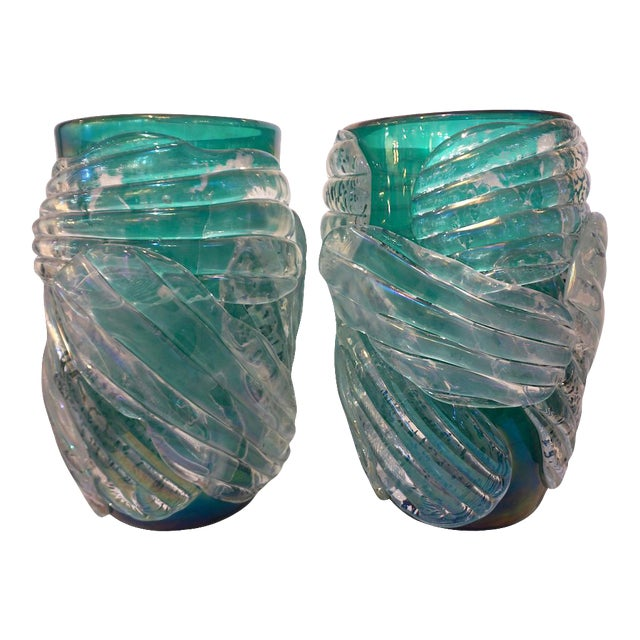 Italian Modern Iridescent Emerald Green Murano Glass Sculpture Vases - a Pair For Sale