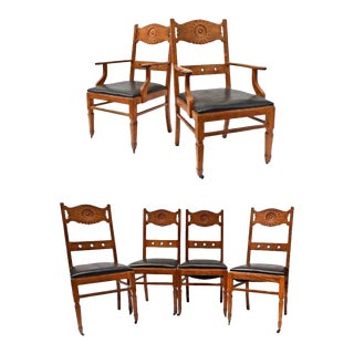 Franco Scerbo Art Deco Oak Dining Chairs - Set of 6