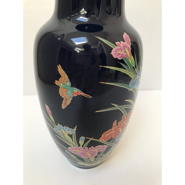 Asian Inspired Navy Floral Vase For Sale - Image 4 of 6