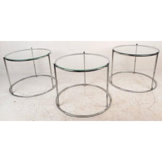 Mid-Century Chrome & Glass Nesting Tables - Set of 3 Preview