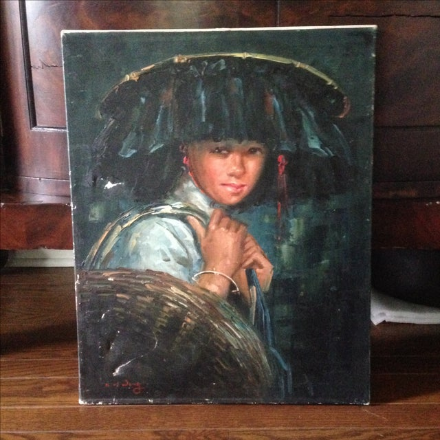 Vintage Portrait of Young Woman, Oil on Canvas - Image 3 of 11