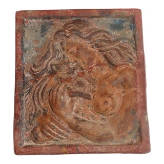 Early and Original Painted Terracotta Plaque of Lady and Cat For Sale