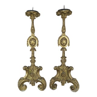 Pair of 19th Century Italian Gilt Wood Candlesticks