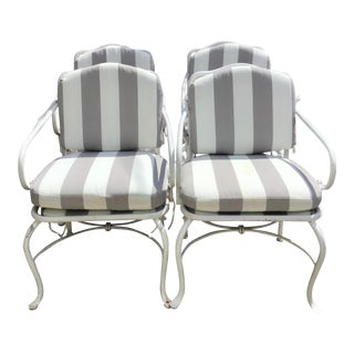 1950s French Patio Arm Chairs - Set of 4 For Sale
