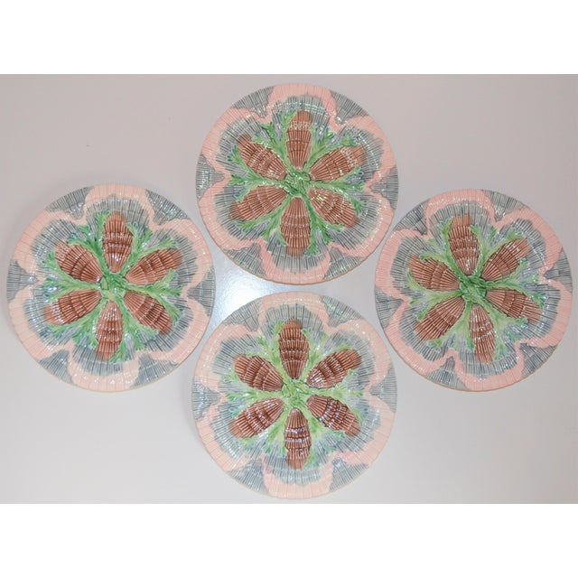 Boho Chic Vintage Horchow Majolica Seashell Plates - Set of 4 For Sale - Image 3 of 8